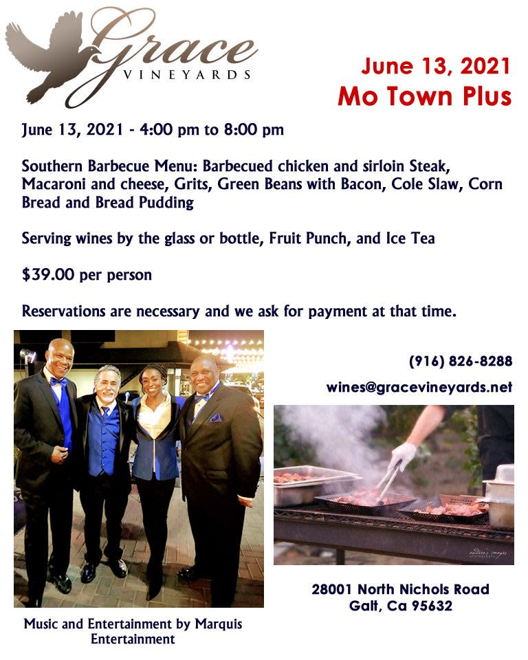 Flyer for Mo Town Plus at Grace Vineyards on June 13, 2021 from 4 - 8 pm. Photo Marquis Entertainment.