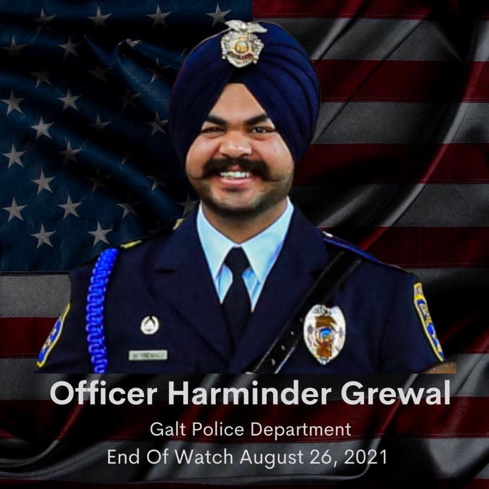 Photo of Officer Harminder Grewal, Galt Police Department, End of Watch August 26, 2021