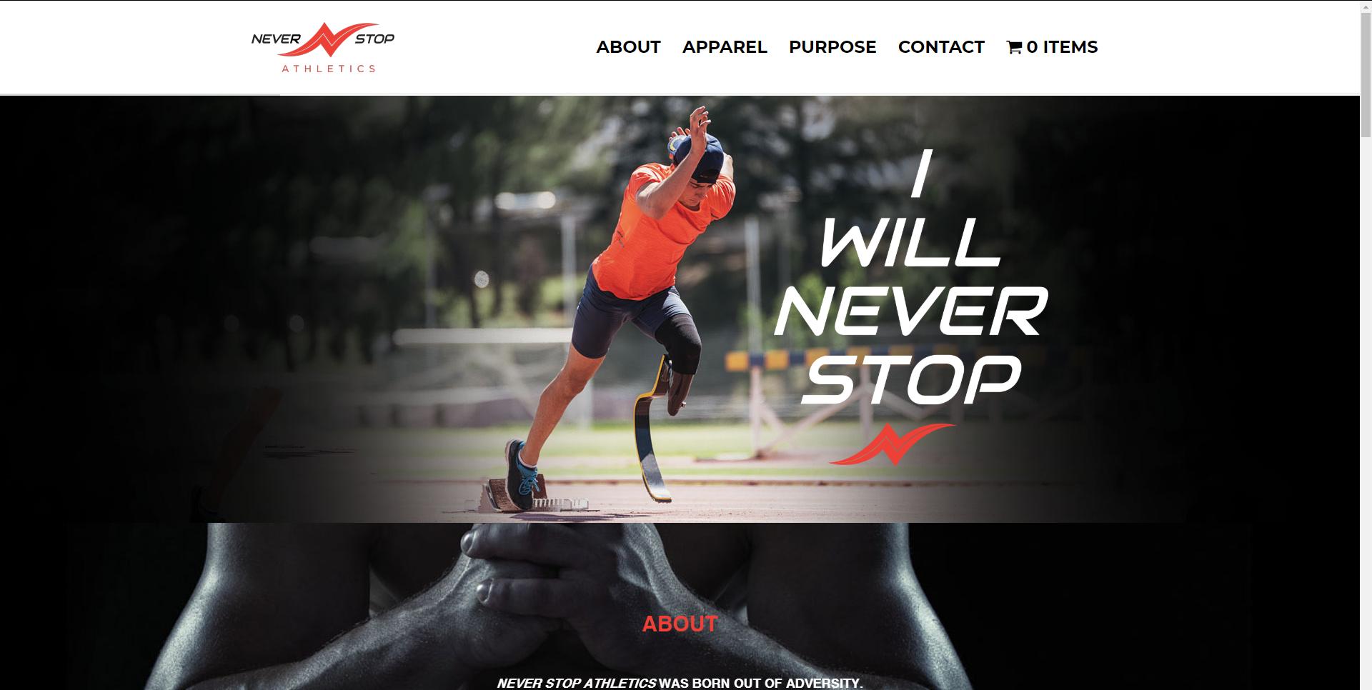 Never Stop Athletics website