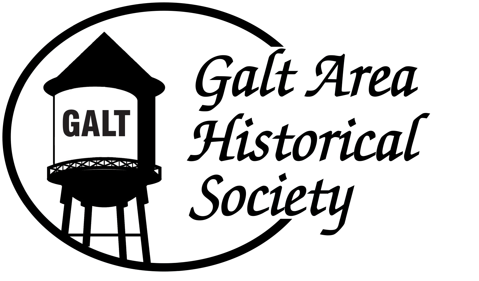 Galt Area Historical Society logo with drawing of the Galt Water Tower inside a circle