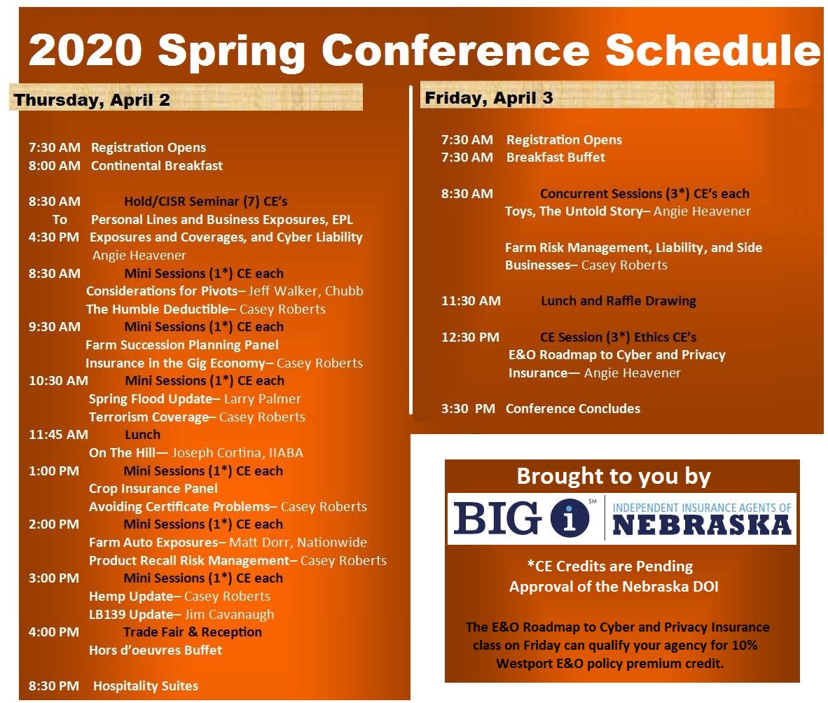 2020 Spring Conference Schedule