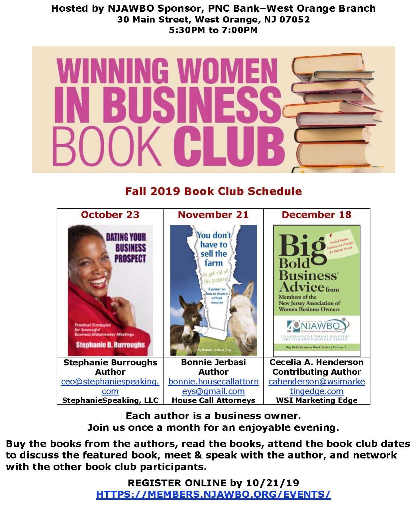 NJAWBO/PNC Bank - West Orange Business Book Club GZ Events