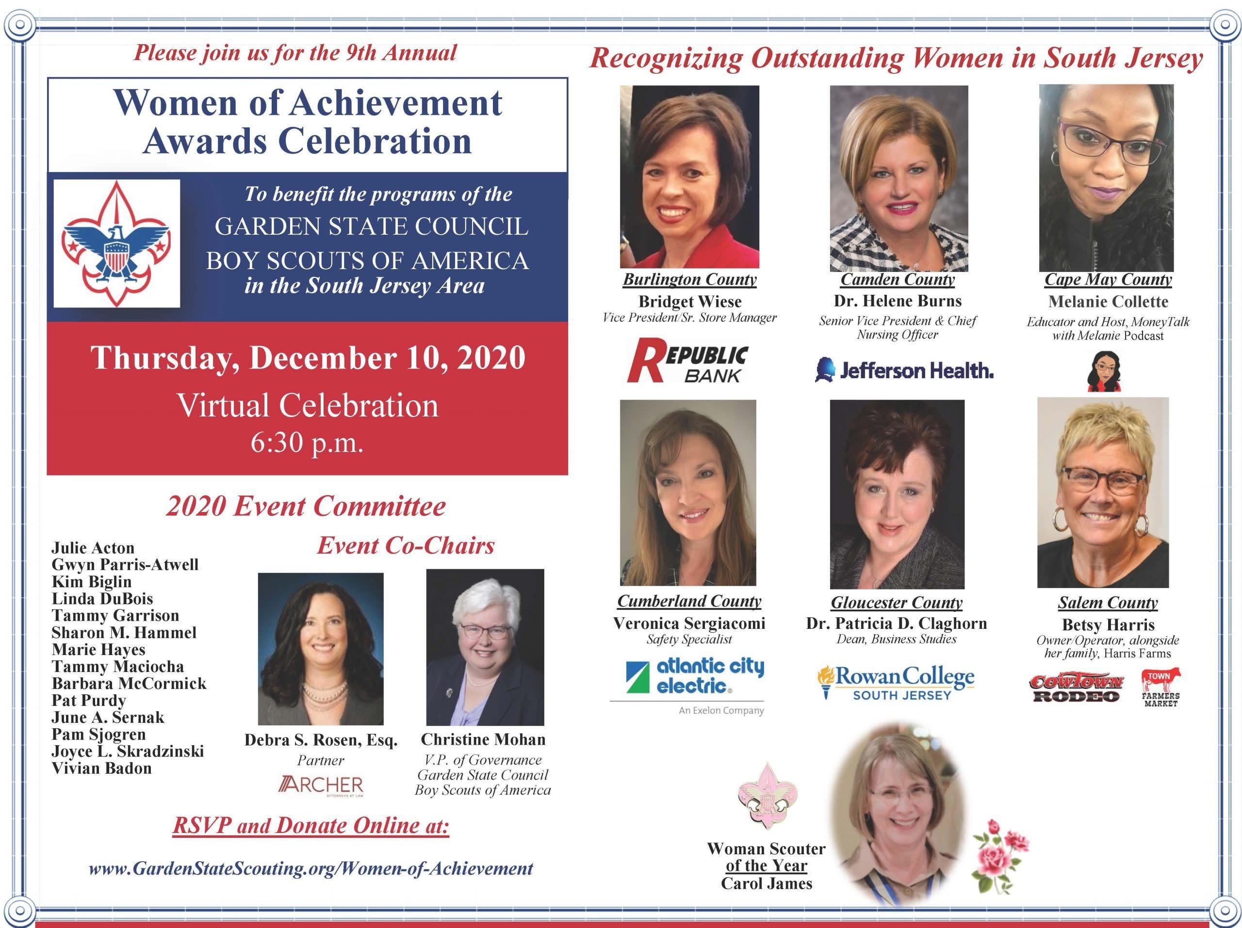 Garden State Council Women of Achievement celebration for December 10, 2020