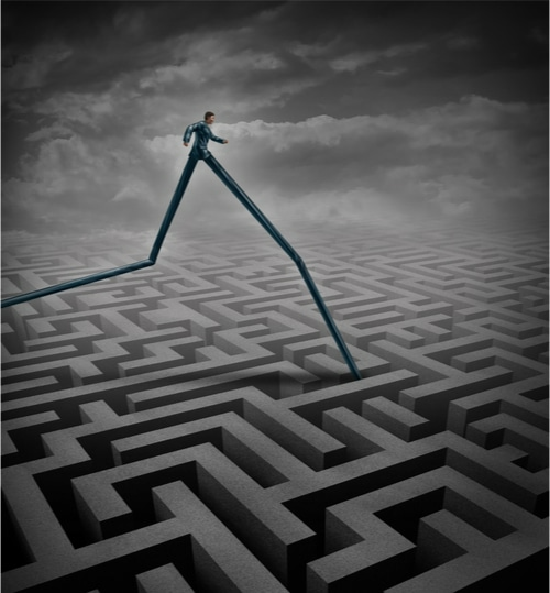 Illustration of person with long legs overcoming a maze