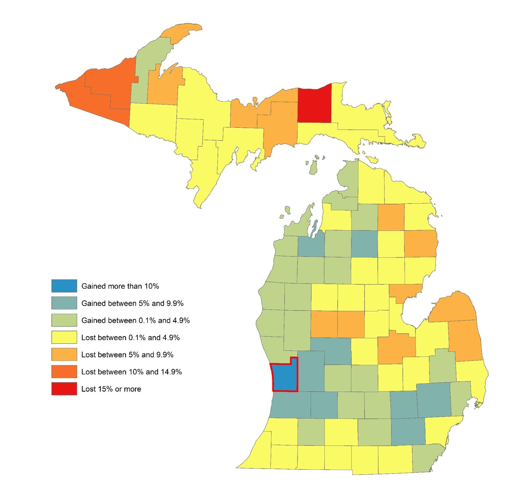 County Pop Change Map