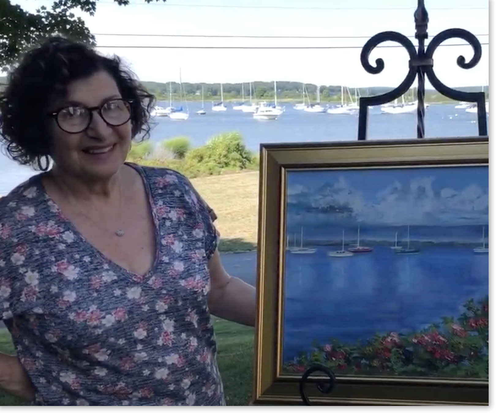 Diane Aldi DePaola with her painting.