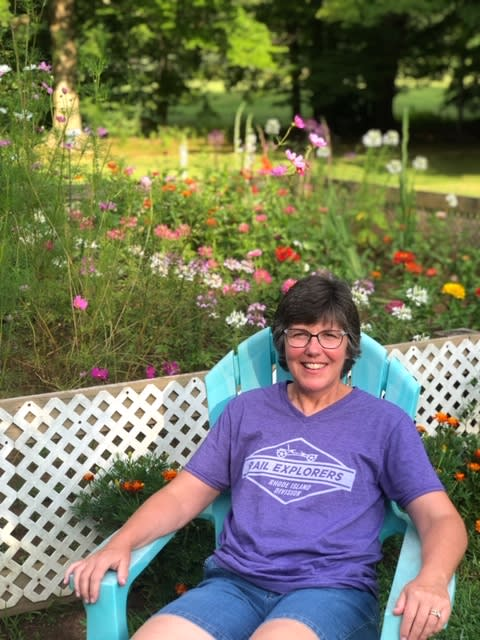 Ellen Kelley enjoys sitting outside in her garden.