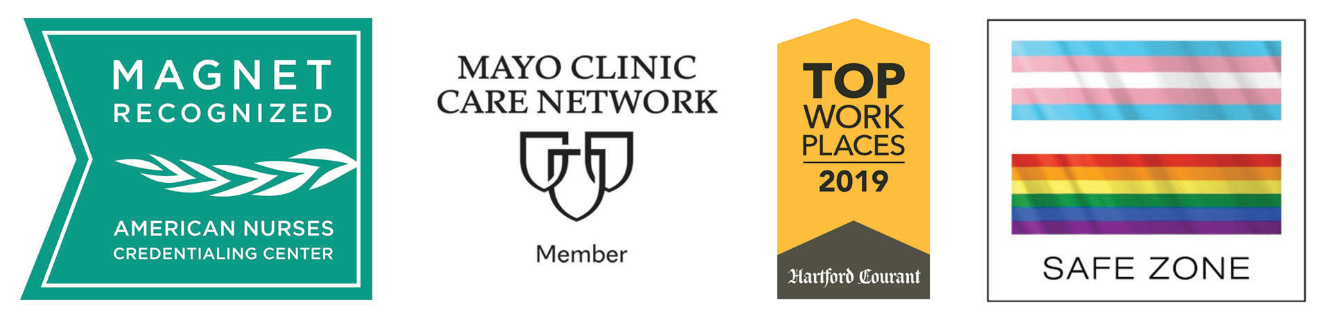 Magnet, Mayo Clinic Care Network, Top Workplaces, and Safe Zone Logos