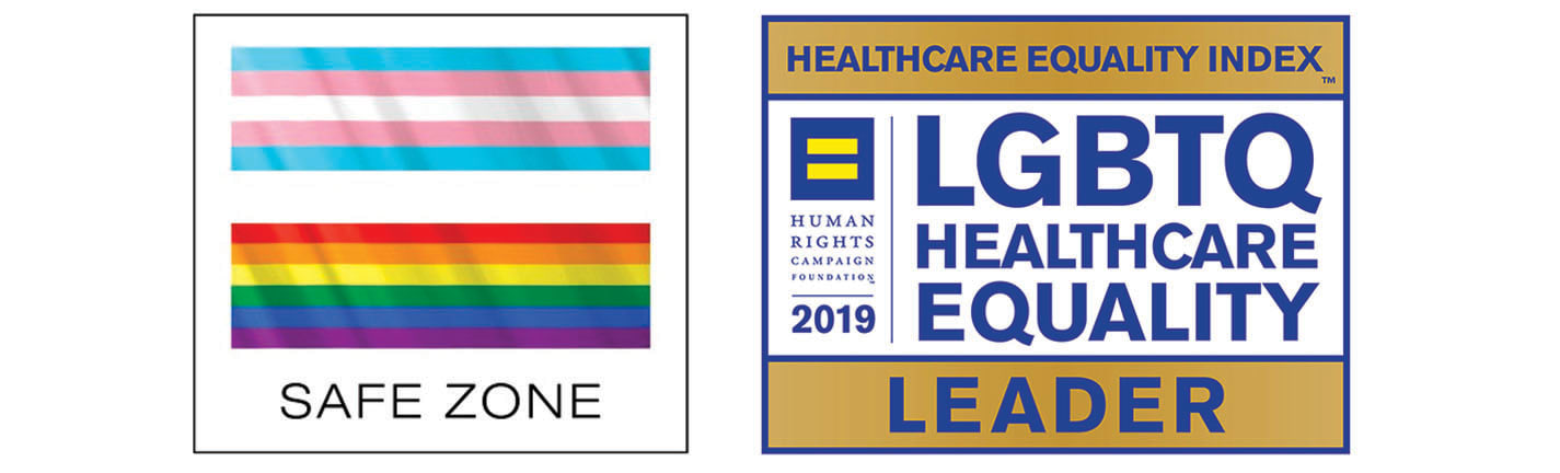 Middlesex Health Safe Zone logo and Health Equity Index 2019 badge.