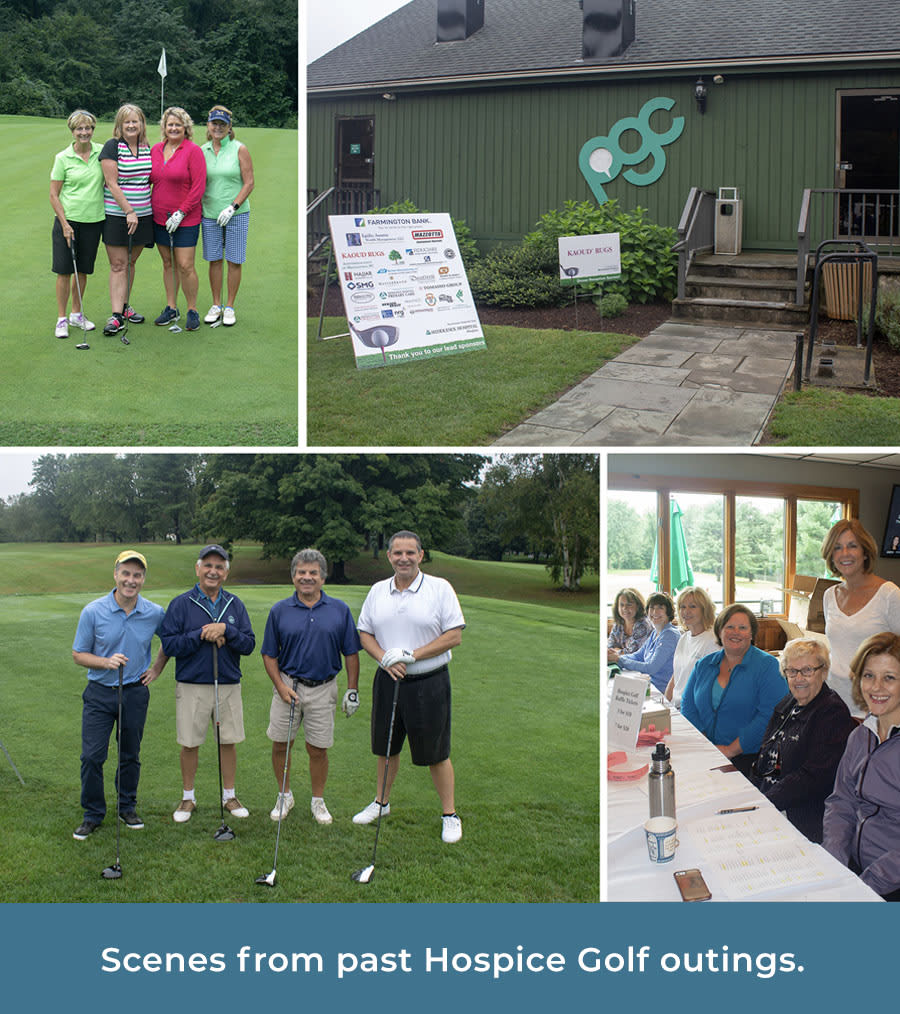 Scenes from past hospice golf outings.