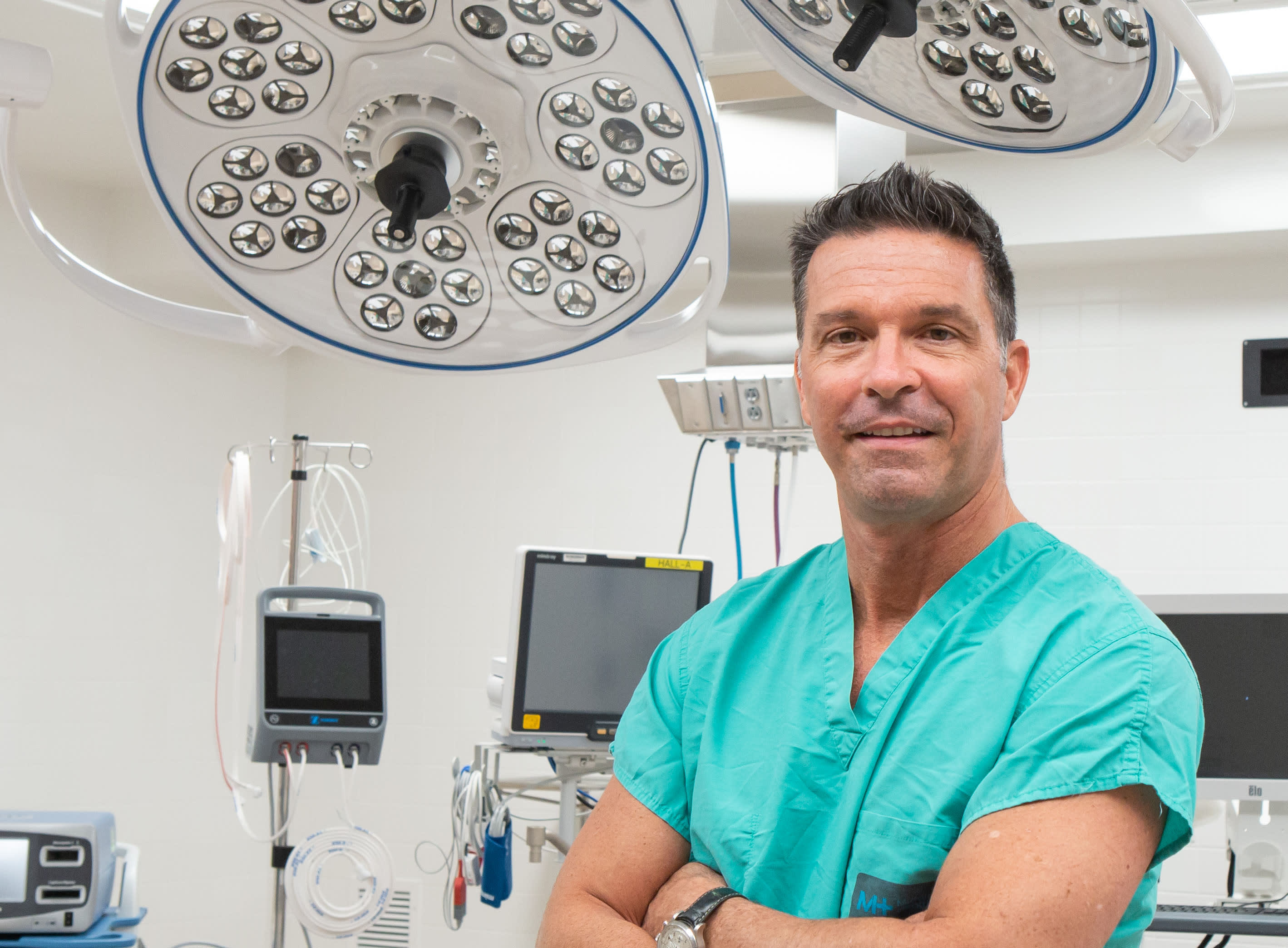 Dr. Mark Lorenze stands in the orthopedic operating suite at Middlesex Health.