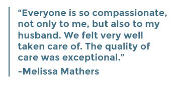 Melissa Mathers says everyone at Middlesex Health was so compassionate.