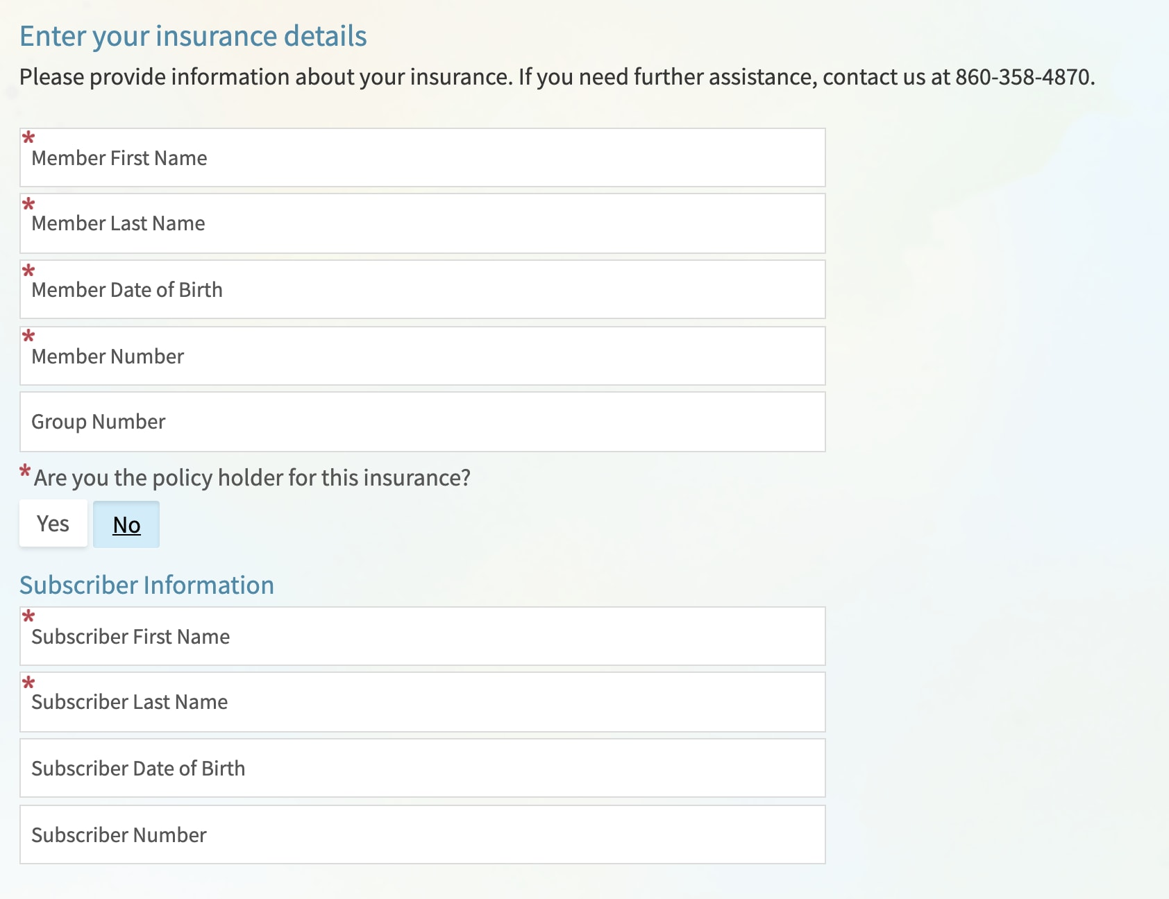 Image of insurance detail fields in Price Estimator tool.
