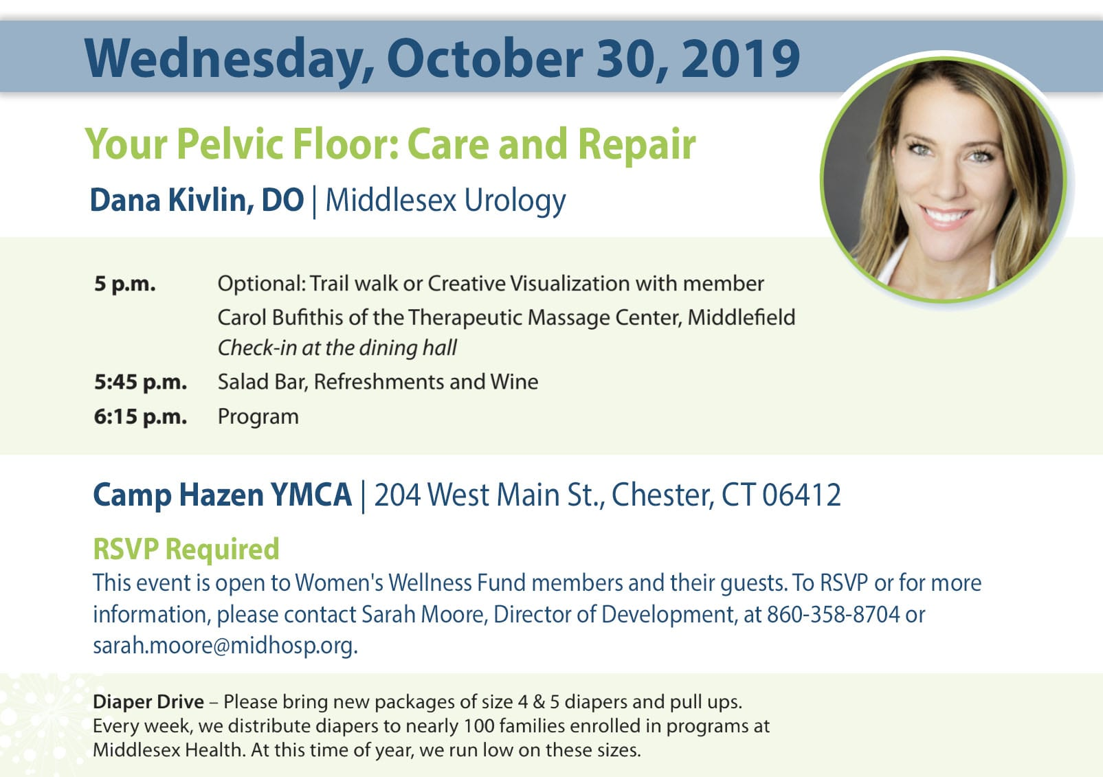 Details for October 2019 Women's Wellness Fund event.