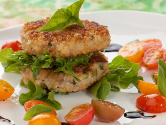 Lightly filled crabcakes are a healthy summertime option.