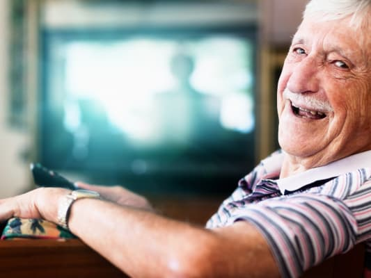 Elderly man and happy