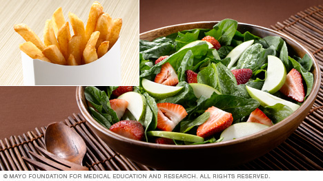 French fries vs. spinach salad