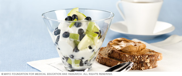 Yogurt with fresh fruit, whole-grain toast with peanut butter and coffee