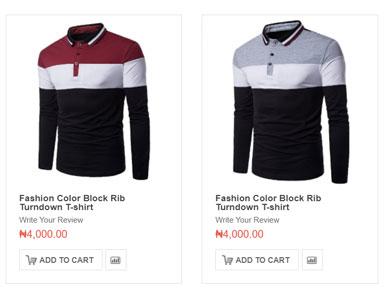Fashion Color Block Rib Turndown T-shirt