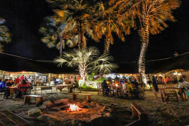 Relax around our open fire under the stars in the Boma Restaurant