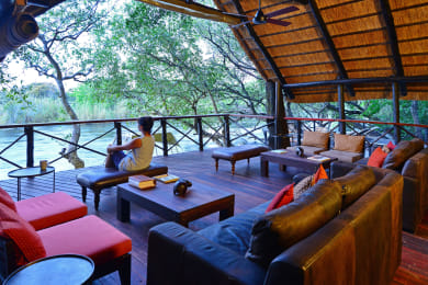 Lounge overlooking the Chobe River rapids