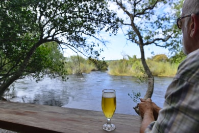 View from the lounge overlooking the Chobe River rapids