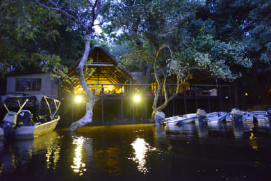 View of the lodge from the Chobe River