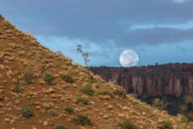 Moon rising over the Etendeka plateau