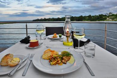 Dining on the upper deck