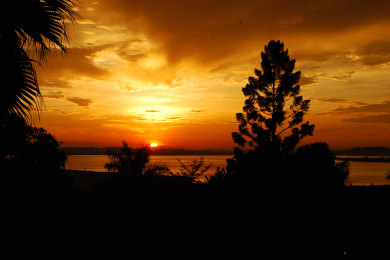 Sunset from Lake View Room - Karibu Entebbe