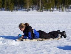 Eisfischen, Schneemobil und Rentiertour zum Polarlicht