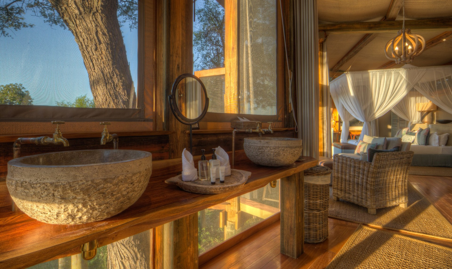 Badezimmer im Camp Okavango