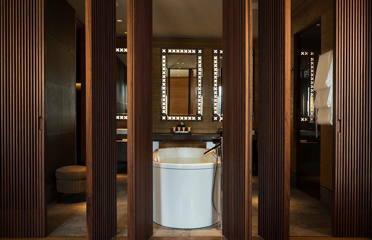 Badezimmer des Chedi Andermatt