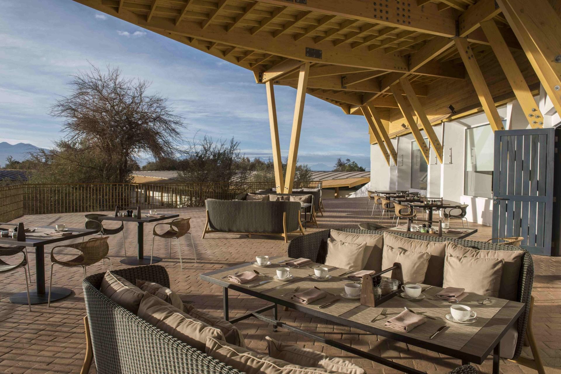 Außenbereich des Restaurants des Explora Atacama