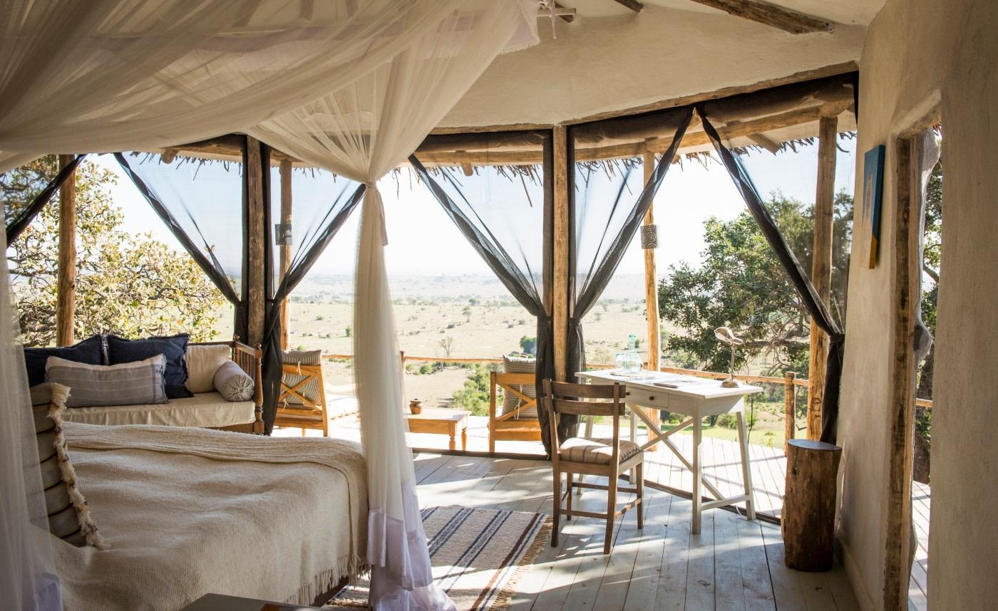 Aussicht aus einer Cottage des Lamai Serengeti