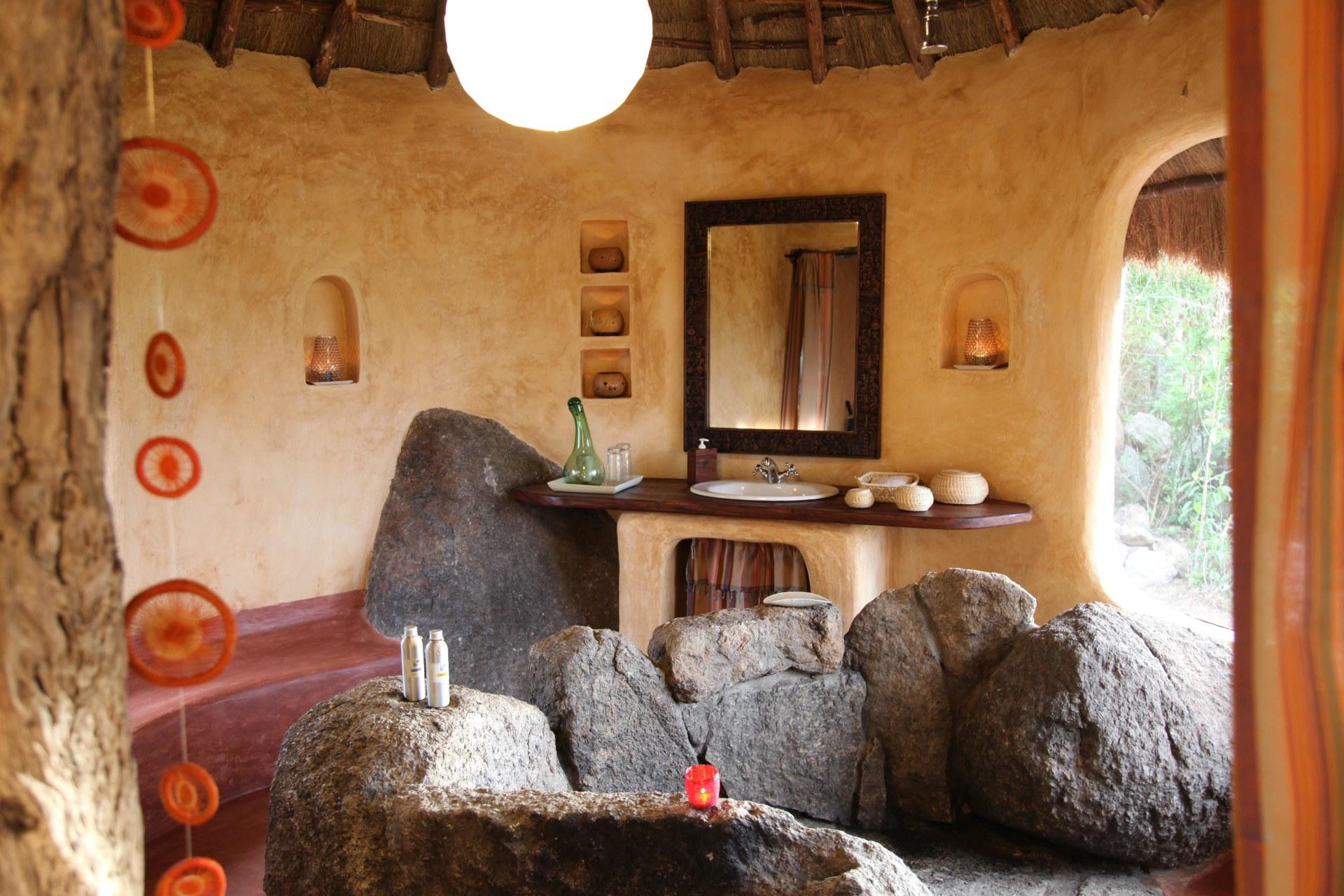 Badezimmer der Mihingo Lodge