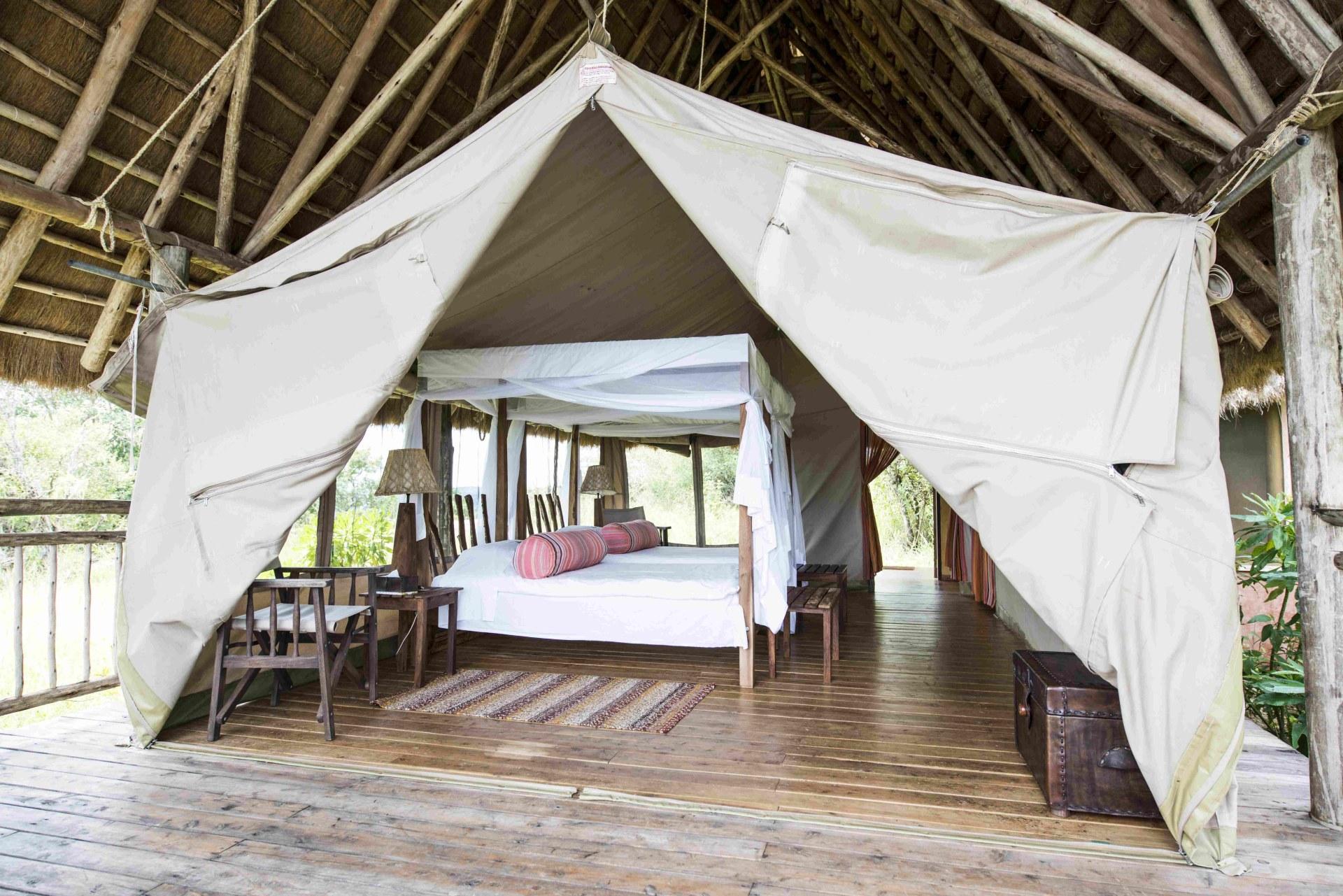 Schlafzimmer der Mihingo Lodge
