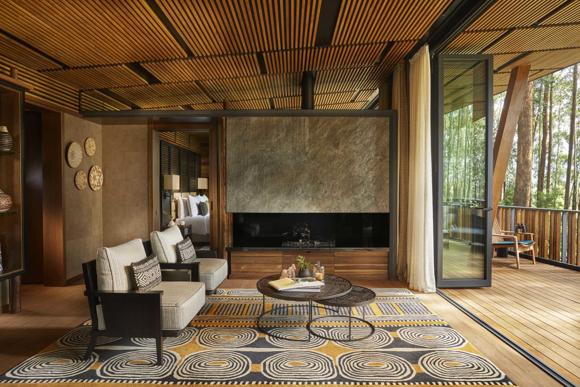 Wohnbereich der Suite im One&Only Gorillas Nest