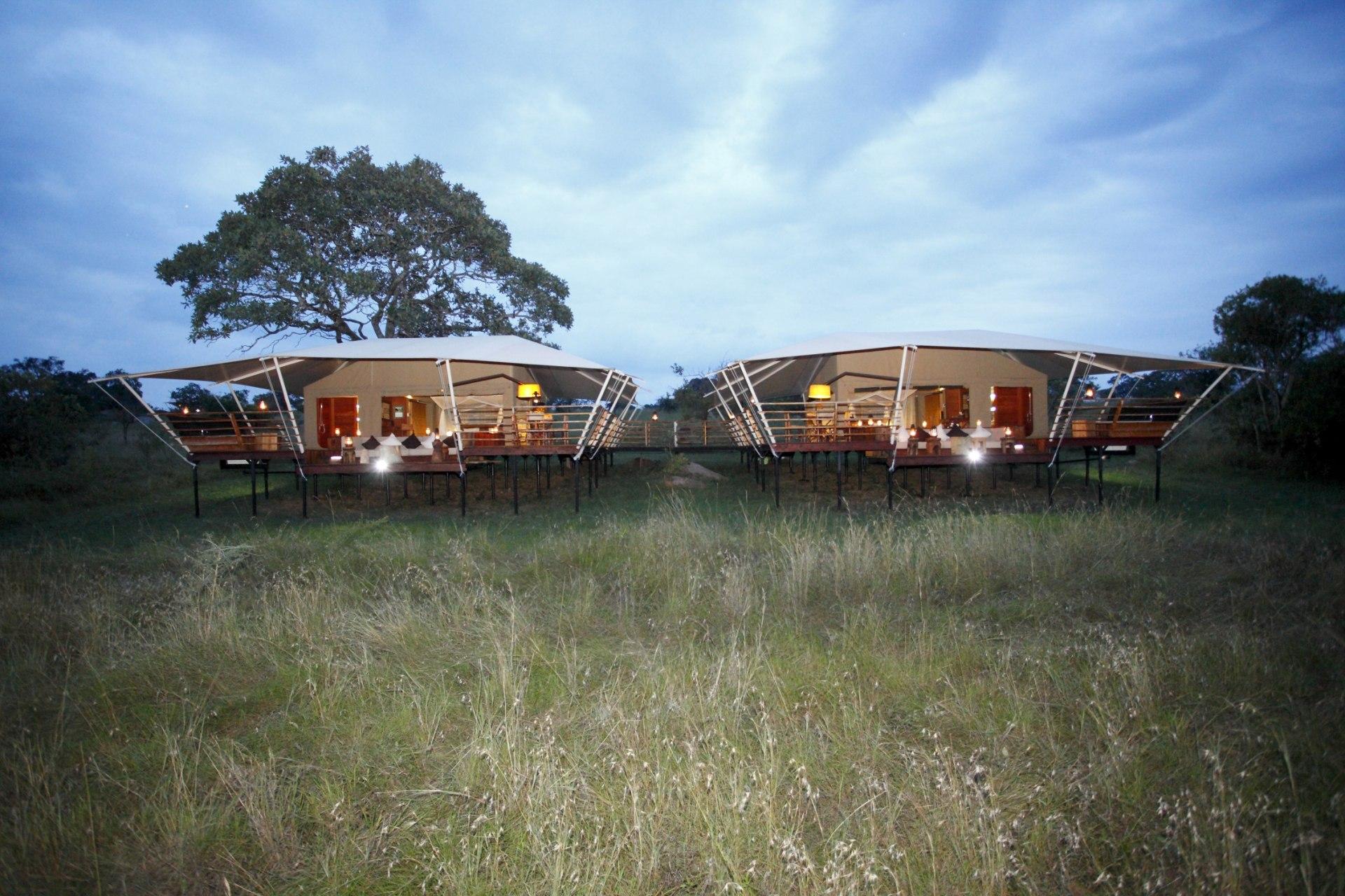 Aussenansicht des Familienzelts im Serengeti Bushtops