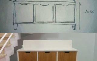 נגרות בהתאמה אישית | שרטוט של ספסל אחסון + הספסל הבנוי