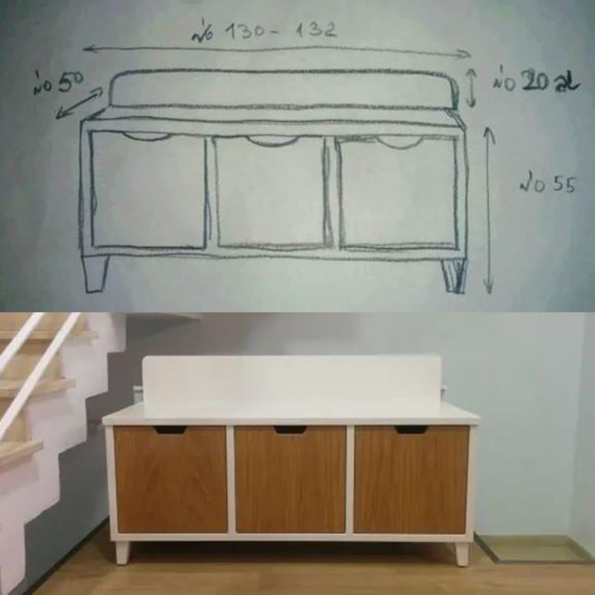 נגרות בהתאמה אישית   שרטוט של ספסל אחסון + הספסל הבנוי