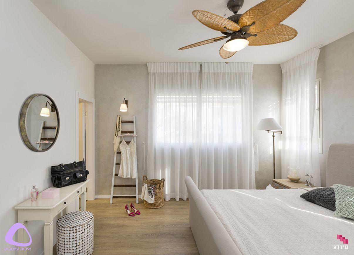 עיצוב דירת קבלן חדר שינה הורים