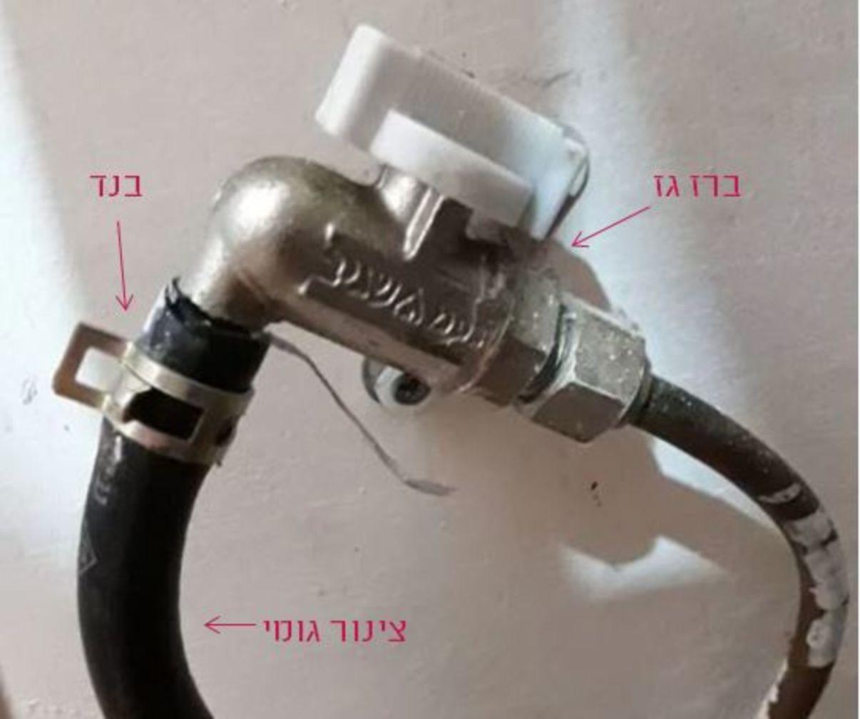 התקנת כיריים גז   חיבור צינור גומי לברז גז