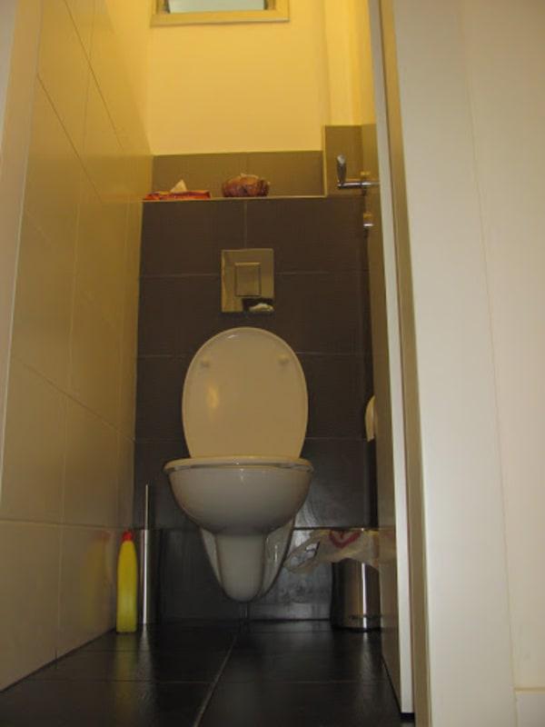 חדר שירותים. מיכל הדחה סמוי