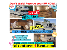SALE !! UNLIMITED generator use  / 110 FREE miles /day  - Easy to drive - Beginner friendly -Sleep 8 - Beginner Friendly - Easy To Drive - BIG beautiful interior - full sized kitchen and shower - Fleetwood Jamboree Sport