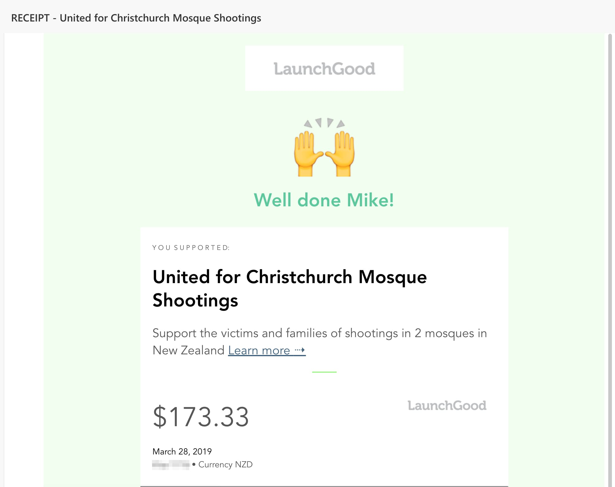 Screenshot of a donation to the Cristchurch Mosque charity for $173.33 USD