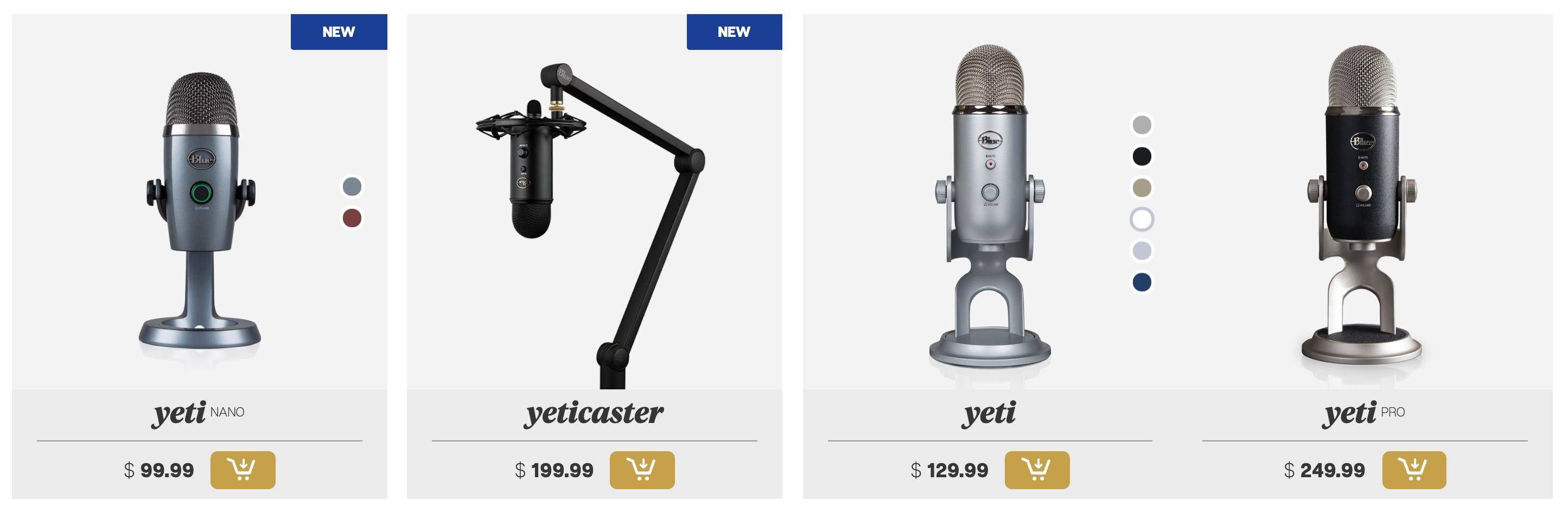 A few of Blue's microphones from their website - all of which have the same design challenge