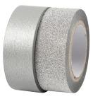 Designtape, sølv, 15mm x 10 m , 2 ruller