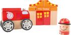 Byggesett i tre, brannstasjon med brannbil