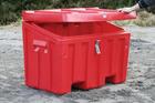 Sand- og oppbevaringskasse med klemsikkert og låsbart lokk -